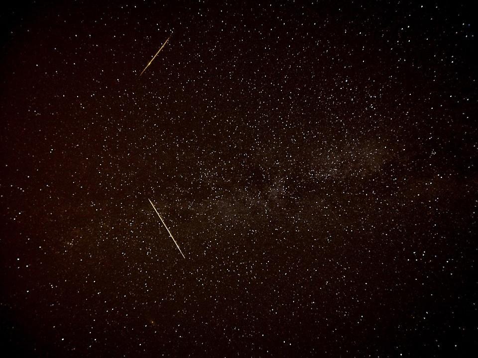 Perseid Meteors over Mt. Blue, Weld, Maine.  8-11-16 @ 3am (Credit: Robert Ratford)