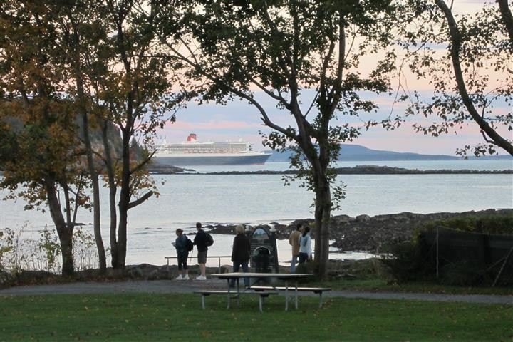 Views from along the path may include a cruise ship! (Credit: Town of Bar Harbor)