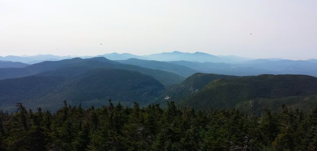 View from Old Speck tower toward Mahoosuc Notch and Presidentials (Credit: Bigeloafah)