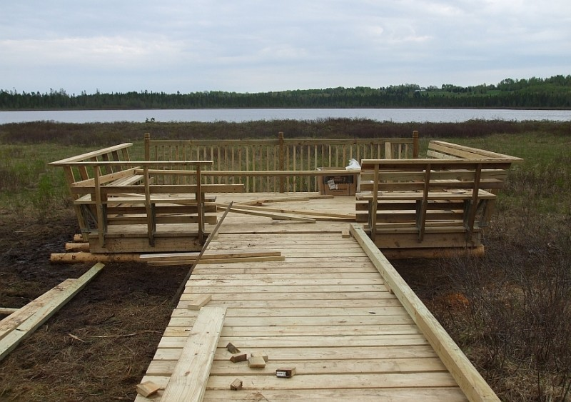Salmon Brook Lake viewing platform near completion, May 2011 (Credit: Maine Bureau of Parks and Lands)