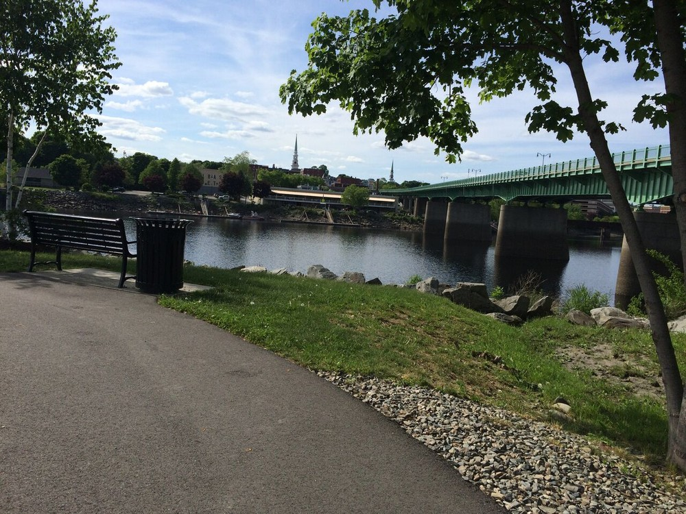 View of the Joshua Chamberlain Bridge from the trail (Credit: Maine Trail Finder)