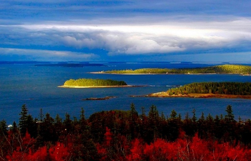Fall storm over Greater Pleasant Bay (from the summit) (Credit: Downeast Coastal Conservancy)