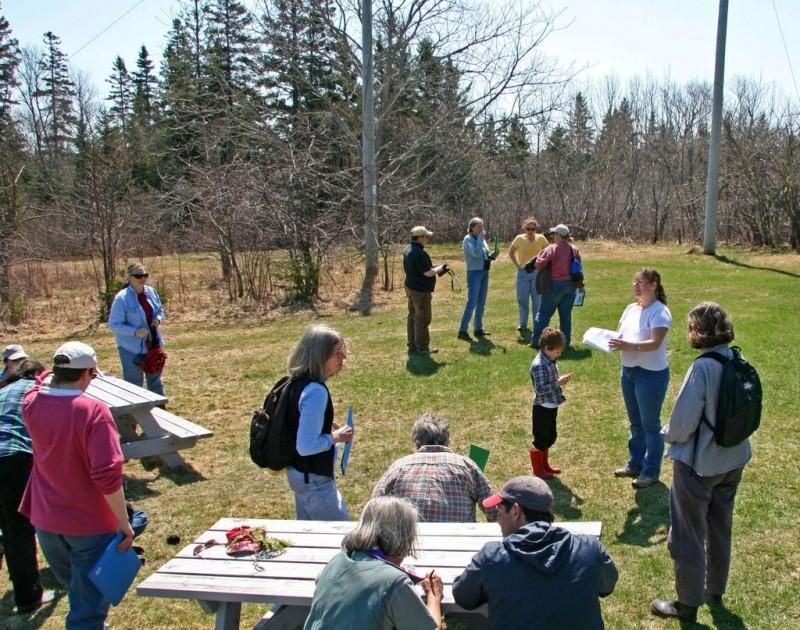 Group preparing for stewardship hike (Credit: Downeast Coastal Conservancy)