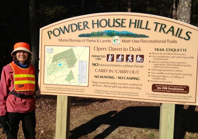Powder House Trailhead with Volunteer Karen McCann (Credit: Dennis Hayes)