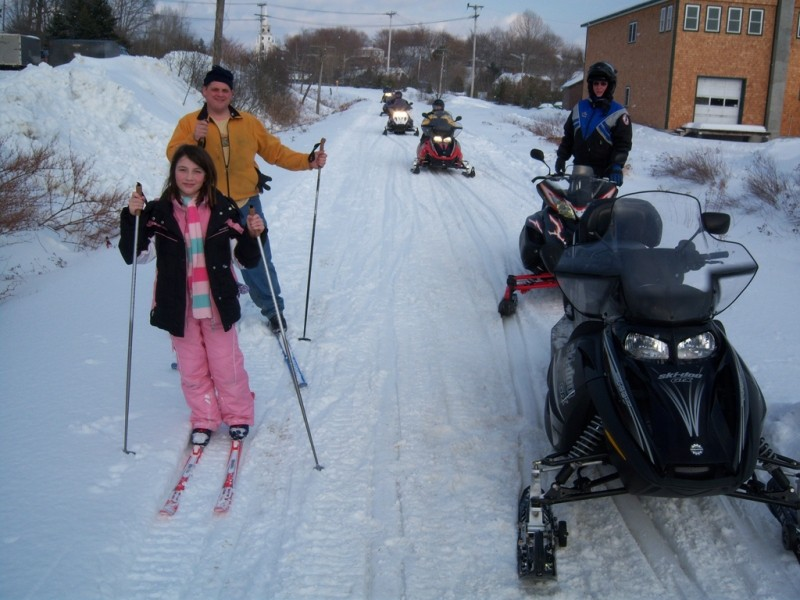 Skiers and Snowmobiles in East Machias (Credit: Maine Bureau of Parks and Lands)