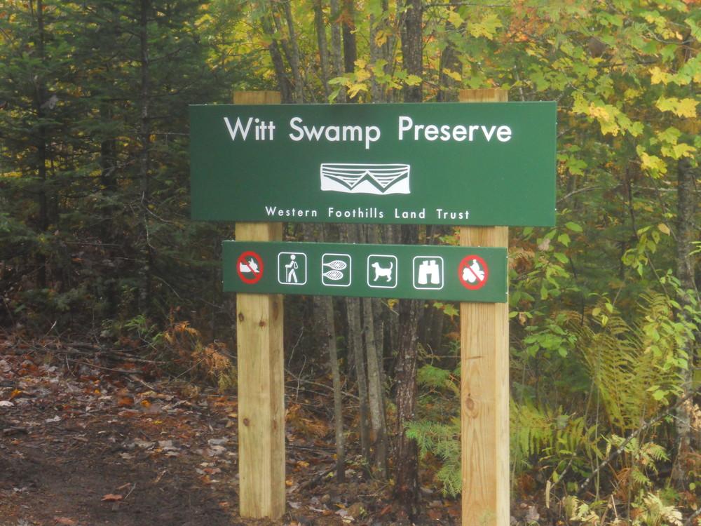 Witt Swamp Preserve Sign (Credit: Western Foothills Land Trust)