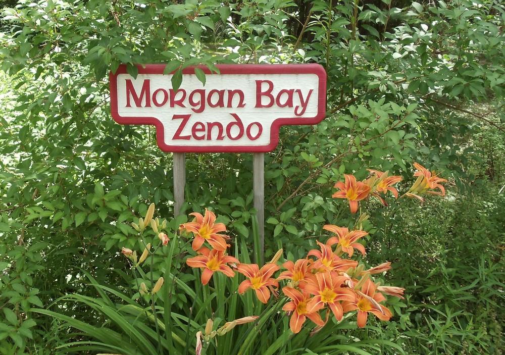 Sign at entrance to parking area (Credit: Morgan Bay Zendo)