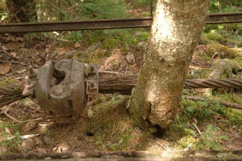 A historic splice in the tramway cable that was meant to reduce weight on the transport (Credit: Maine Bureau of Parks and Lands)