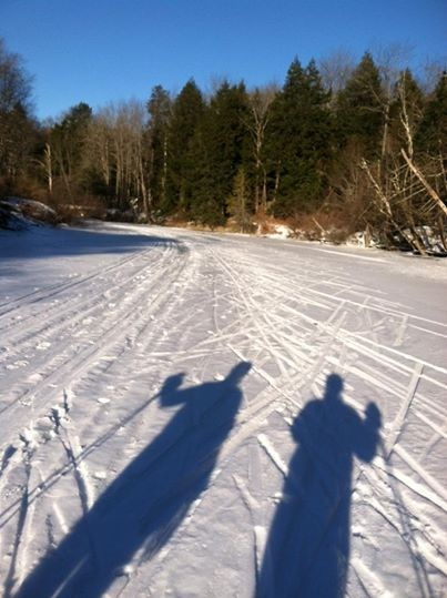 Skiing along the waterway (Credit: Royal River Conservation Trust)