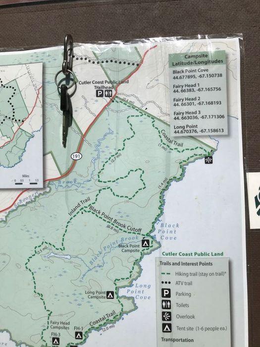 Trail map at trailhead, June 2020 (Credit: Julia Daly)