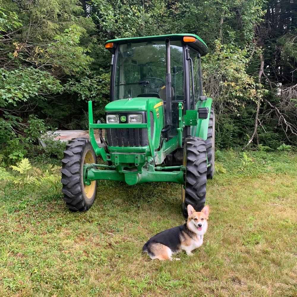 Working hay field! Farm equipment sometimes present