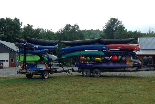 Boats loaded for the shuttle to the put-in