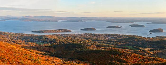 Overlooking Bar Harbor and the Porcupine Islands to the Northwest (Credit: Hope Rowan)