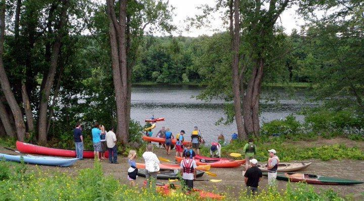 Paddlers launch at old Otis Paper Mill, Jay/Livermore Falls (Credit: Androscoggin River Watershed Council)