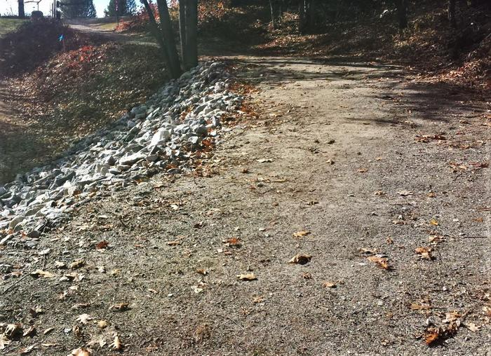Crushed stone surface / Gentle slope up to H.S. trailhead (Credit: Healthy Oxford Hills)