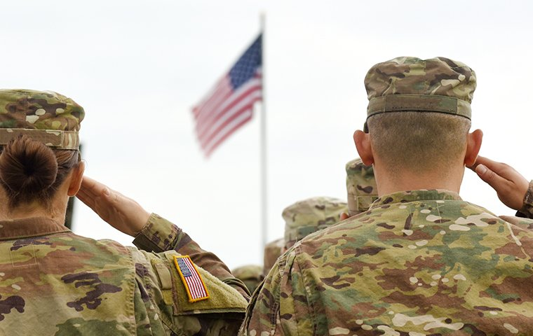 soldiers standing and saluting the flag