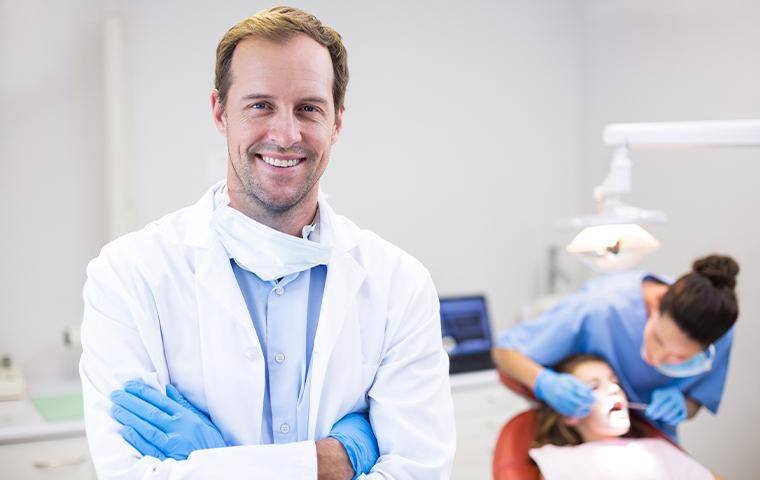 a dentist in his office