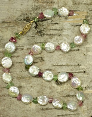 Pearl and Maine Tourmaline Bead Necklace