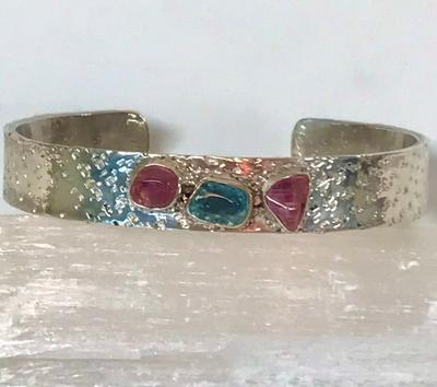 Sterling Silver Cuff with Maine Tourmaline