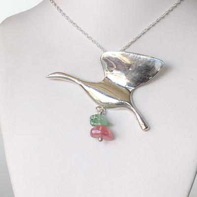 Sterling Silver Bird Pendant with Maine Tourmaline Dangle