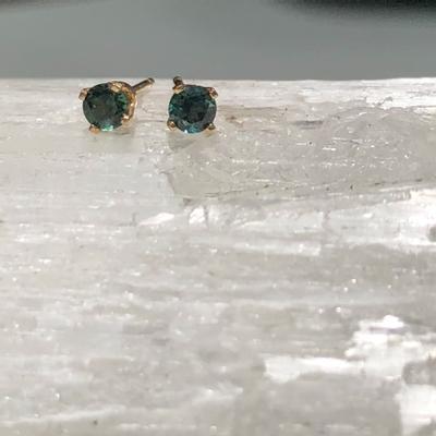 Blue-Green Maine Tourmaline ~ 14 KY Post Earrings
