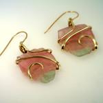 Maine Watermelon Pink and Green Tourmaline Earrings