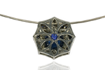 Montana Blue Sapphire and Diamond Pendant by Katzenbach Designs