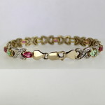 Pink and Green Maine Tourmaline Gold Bracelet with Natural Diamond