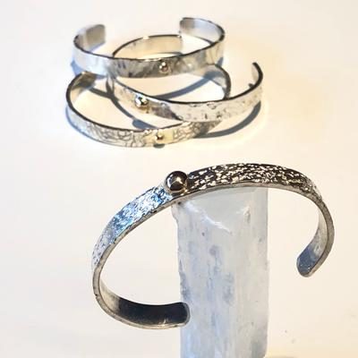 Sterling Silver Cuff Bracelet with 14 KY Ball Detail