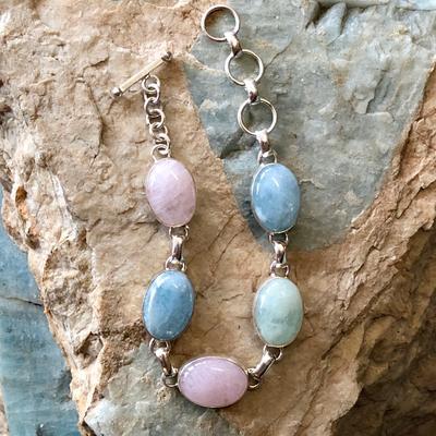Sterling Silver Link Bracelet with Maine Beryl Gemstones