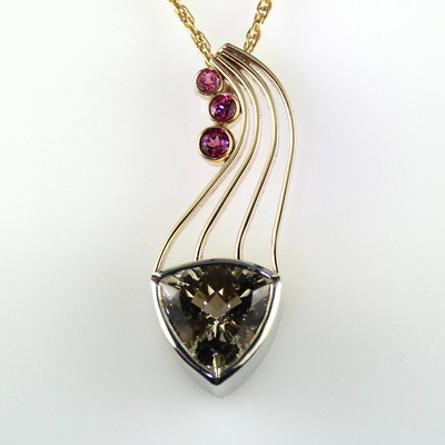 Maine Tourmaline and Smoky Quartz Pendant