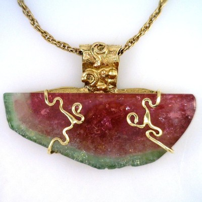 Large Maine Watermelon Tourmaline Pendant