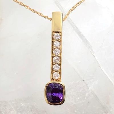Magenta Sapphire and Diamond 18KY Pendant