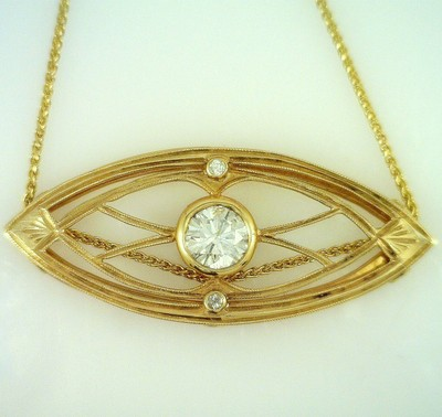 Fine Diamond Architectural Style Artisan Made Gold Pendant