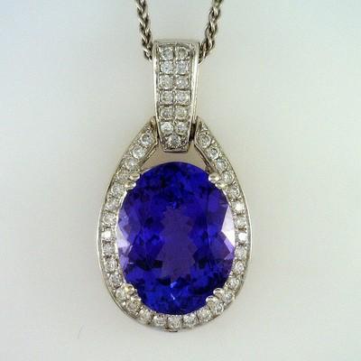 Fine Tanzanite Gem with Diamond Surround ~ 14KW Pendant