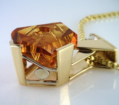 Brilliant Orange Citrine Sculpted by Lapidary Artist Michael Dyber in 14KT Pendant