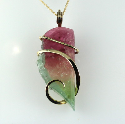 Watermelon Maine Tourmaline Pendant