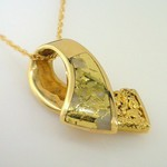 Gold Veined in White Quartz Pendant
