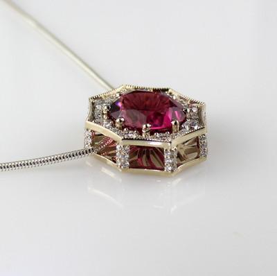 Dark Pink Maine Tourmaline and Diamond Pendant by Derek Katzenbach