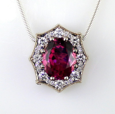 Dark Pink Maine Tourmaline and Diamond Pendant by Derek Katzenbach