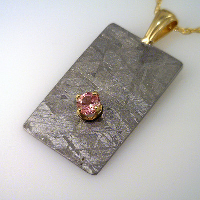 Meteorite Pendant with Pink Maine Tourmaline - Rectanglular Slice