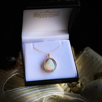 Fine Brazilian Teardrop Opal in 14KY Pendant