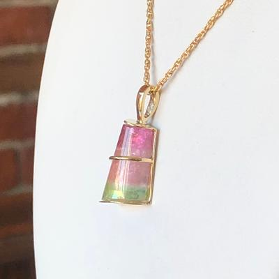 Pink and Green Maine Watermelon Tourmaline Necklace
