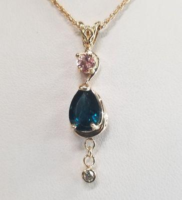 Elegant Maine Tourmaline and Diamond Pendant