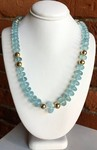 Aquamarine Rondelle Beads and Gold Bead Necklace