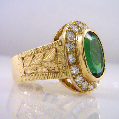 Fine Green Tourmaline and Diamond 14 KY Ring