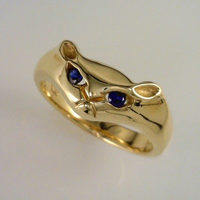 Cat Ring with Sapphire Eyes