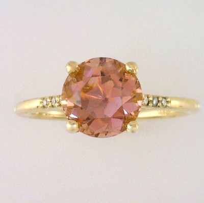Rose Pink Maine Tourmaline and Diamond Ring