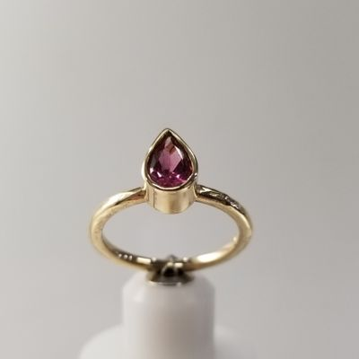 Pear Shape Pink Maine Tourmaline Ring