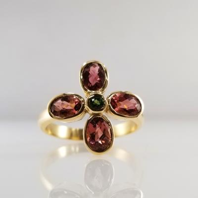 Maine Tourmaline Flower 14KY Ring